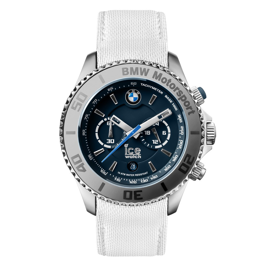 montre ice watch bmw steel en tissu blanc montre homme avec cleor 001120. Black Bedroom Furniture Sets. Home Design Ideas