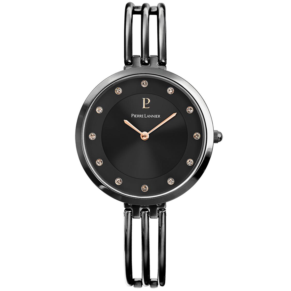 Style Noir Acier Pierre Montre Lannier Elegance En 8wn0OPk