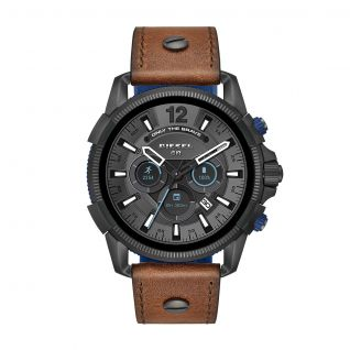 Montre Homme Full Display DIESEL ON en 47 mm et Cuir Marron - CLEOR