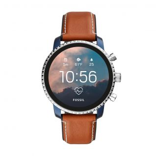 Montre Homme Digital FOSSIL Q en 45 mm et Cuir Marron - CLEOR