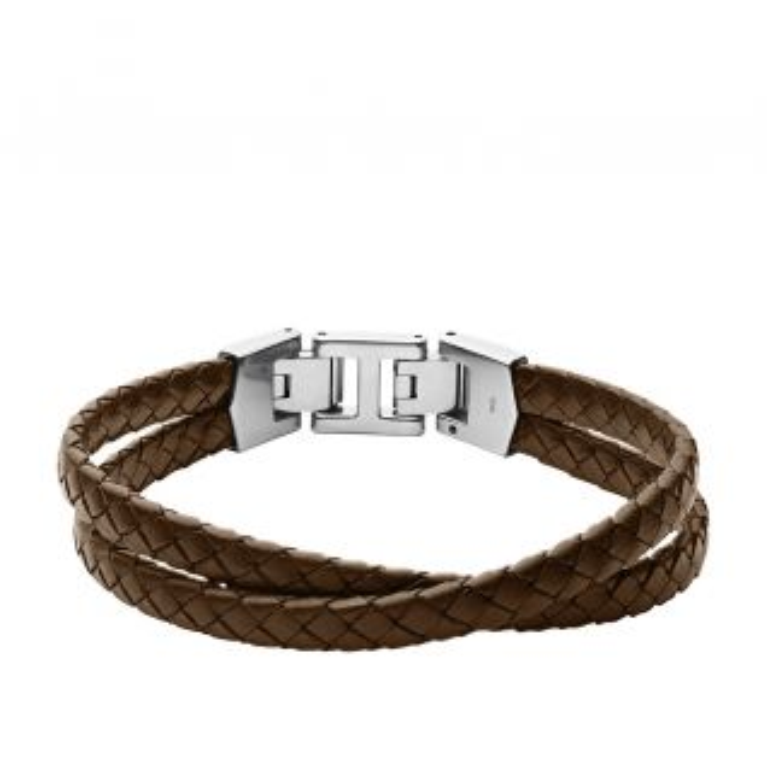 Bracelet FOSSIL en Cuir et Acier Marron - CLEOR