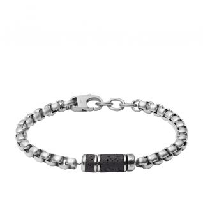 Bracelet FOSSIL en Acier Blanc et Lave Noire - CLEOR