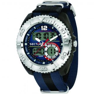 Montre Homme Digital SECTOR EXPANDER en 45 mm et Gomme Bicolore - CLEOR