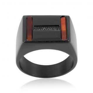 Bague Homme avec Oxyde Rouge CLEOR - CLEOR