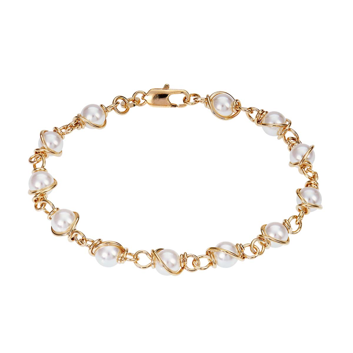Bracelet CLEOR en Plaqué Or et Perle Blanche